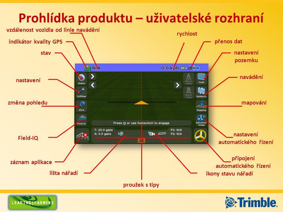 Prohlídka produktu – uživatelské rozhraní nastavení automatického řízení připojení automatického řízení mapování záznam aplikace nastavení Field-IQ zm