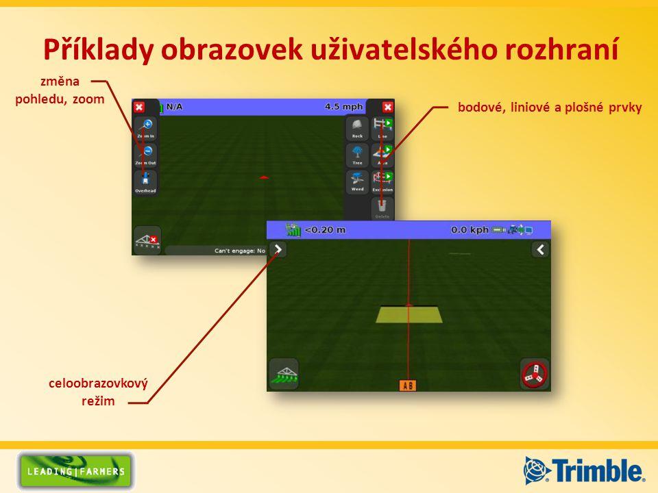 Příklady obrazovek uživatelského rozhraní bodové, liniové a plošné prvky celoobrazovkový režim změna pohledu, zoom