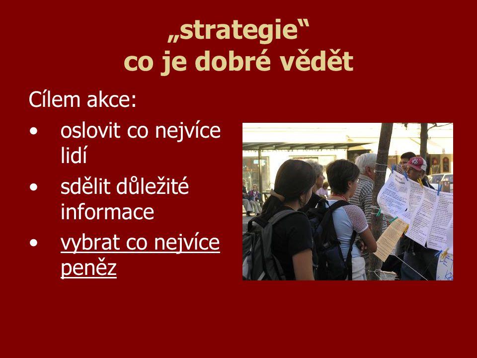 """""""strategie co je dobré vědět Cílem akce: oslovit co nejvíce lidí sdělit důležité informace vybrat co nejvíce peněz"""