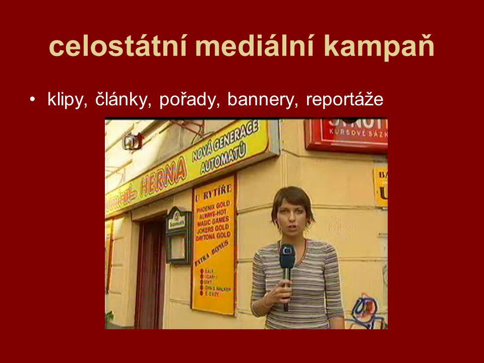 celostátní mediální kampaň klipy, články, pořady, bannery, reportáže