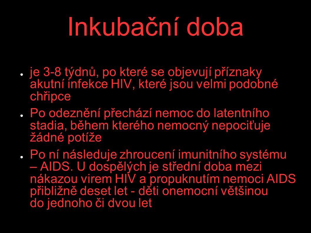 Inkubační doba ● je 3-8 týdnů, po které se objevují příznaky akutní infekce HIV, které jsou velmi podobné chřipce ● Po odeznění přechází nemoc do late