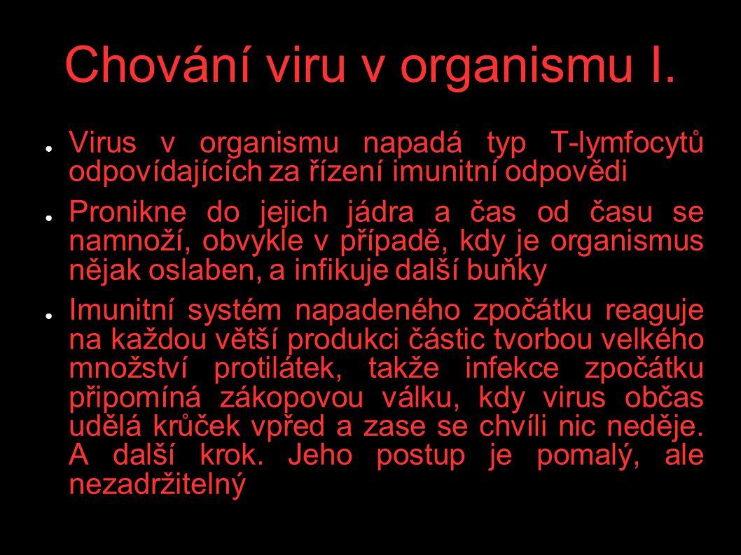 Chování viru v organismu I. ● Virus v organismu napadá typ T-lymfocytů odpovídajících za řízení imunitní odpovědi ● Pronikne do jejich jádra a čas od