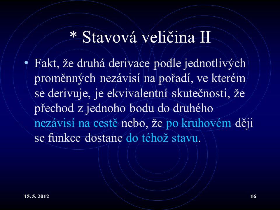 15. 5. 201216 * Stavová veličina II Fakt, že druhá derivace podle jednotlivých proměnných nezávisí na pořadí, ve kterém se derivuje, je ekvivalentní s