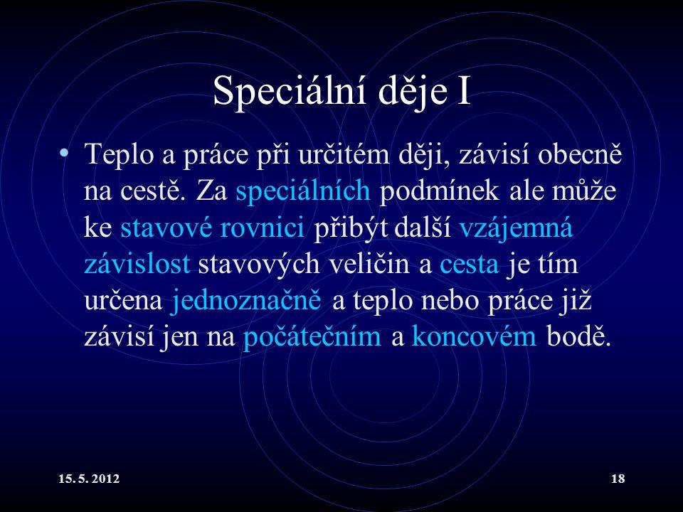 15. 5. 201218 Speciální děje I Teplo a práce při určitém ději, závisí obecně na cestě.