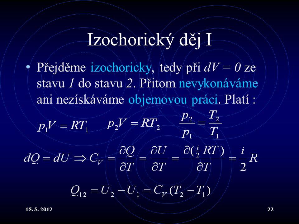 15. 5. 201222 Izochorický děj I Přejděme izochoricky, tedy při dV = 0 ze stavu 1 do stavu 2. Přitom nevykonáváme ani nezískáváme objemovou práci. Plat