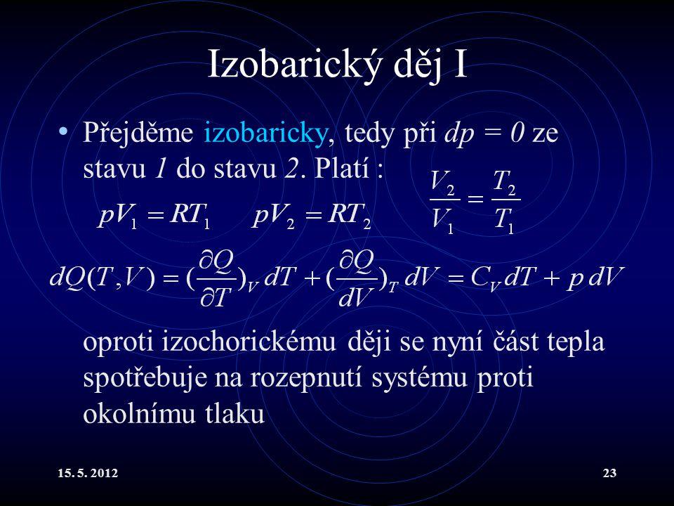 15. 5. 201223 Izobarický děj I Přejděme izobaricky, tedy při dp = 0 ze stavu 1 do stavu 2. Platí : oproti izochorickému ději se nyní část tepla spotře