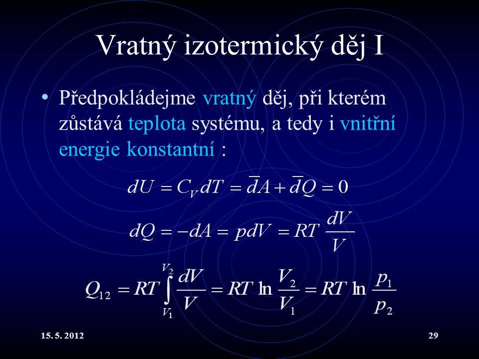 15. 5. 201229 Vratný izotermický děj I Předpokládejme vratný děj, při kterém zůstává teplota systému, a tedy i vnitřní energie konstantní :