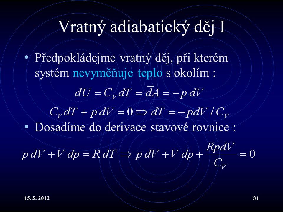 15. 5. 201231 Vratný adiabatický děj I Předpokládejme vratný děj, při kterém systém nevyměňuje teplo s okolím : Dosadíme do derivace stavové rovnice :