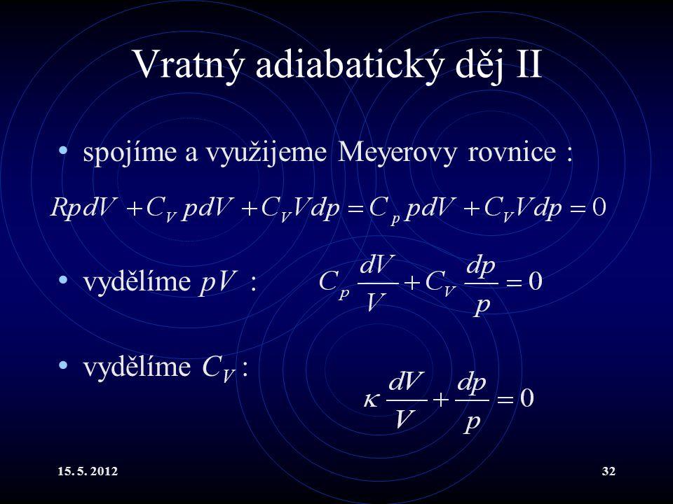 15. 5. 201232 Vratný adiabatický děj II spojíme a využijeme Meyerovy rovnice : vydělíme pV : vydělíme C V :