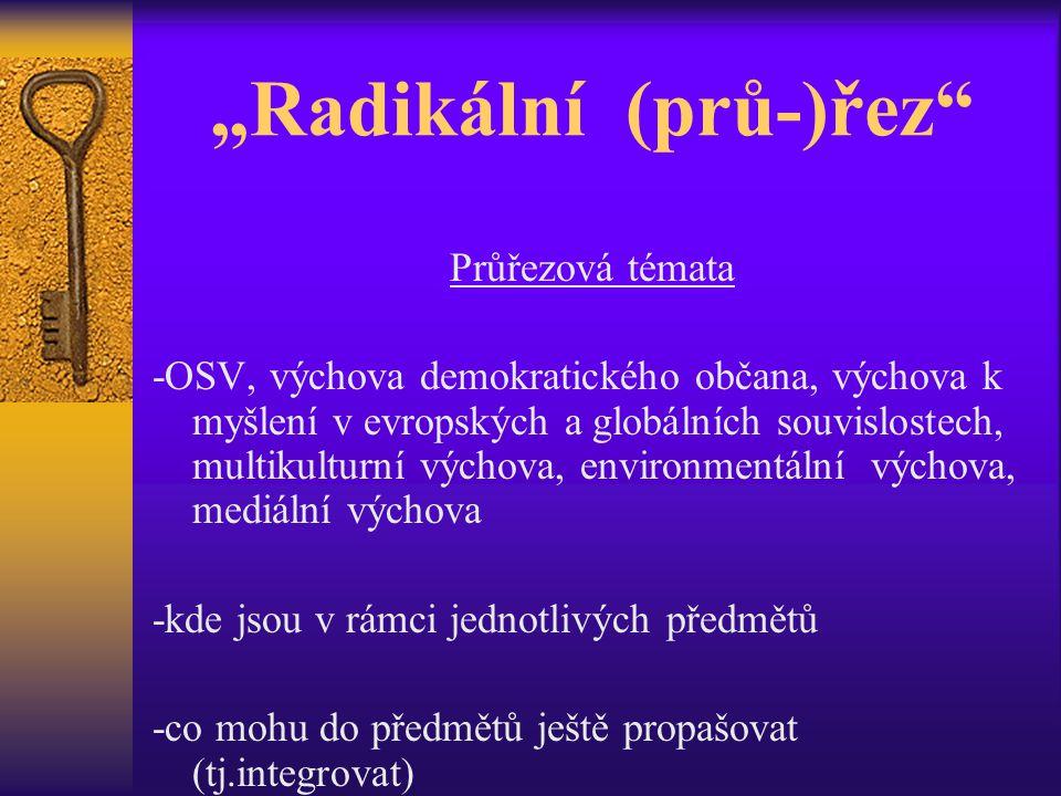 """""""Radikální (prů-)řez Průřezová témata -OSV, výchova demokratického občana, výchova k myšlení v evropských a globálních souvislostech, multikulturní výchova, environmentální výchova, mediální výchova -kde jsou v rámci jednotlivých předmětů -co mohu do předmětů ještě propašovat (tj.integrovat)"""