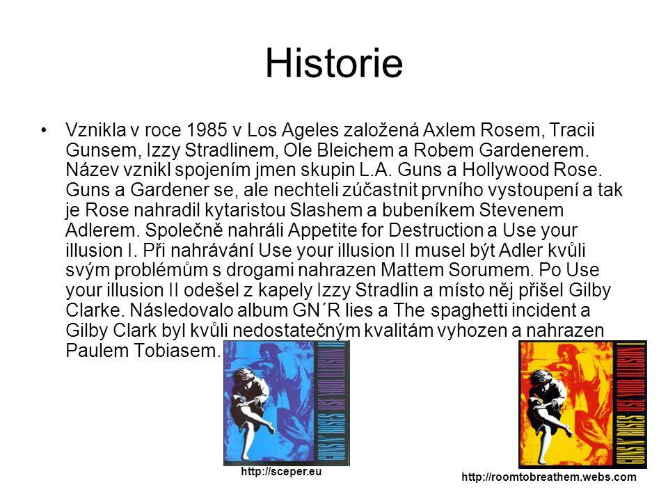 Historie Vznikla v roce 1985 v Los Ageles založená Axlem Rosem, Tracii Gunsem, Izzy Stradlinem, Ole Bleichem a Robem Gardenerem. Název vznikl spojením