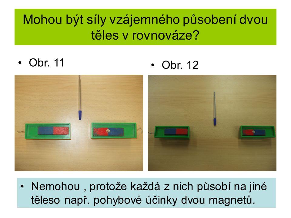 Mohou být síly vzájemného působení dvou těles v rovnováze? Nemohou, protože každá z nich působí na jiné těleso např. pohybové účinky dvou magnetů. Obr