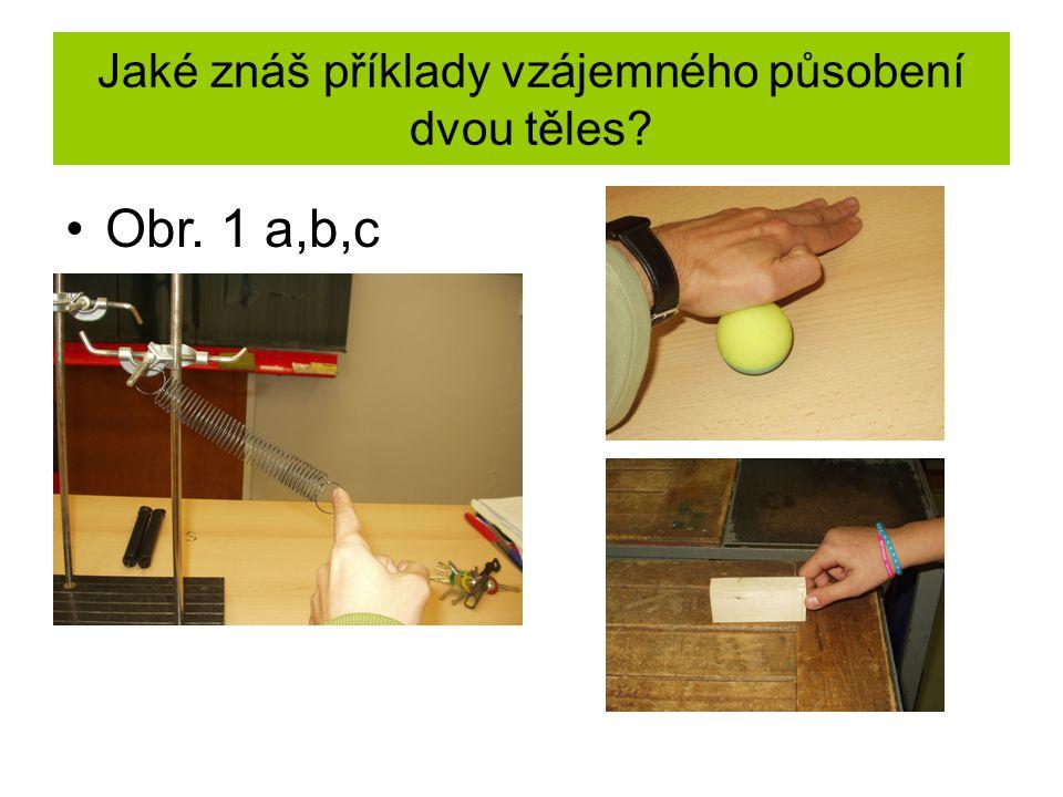 Jaké znáš příklady vzájemného působení dvou těles? Obr. 1 a,b,c