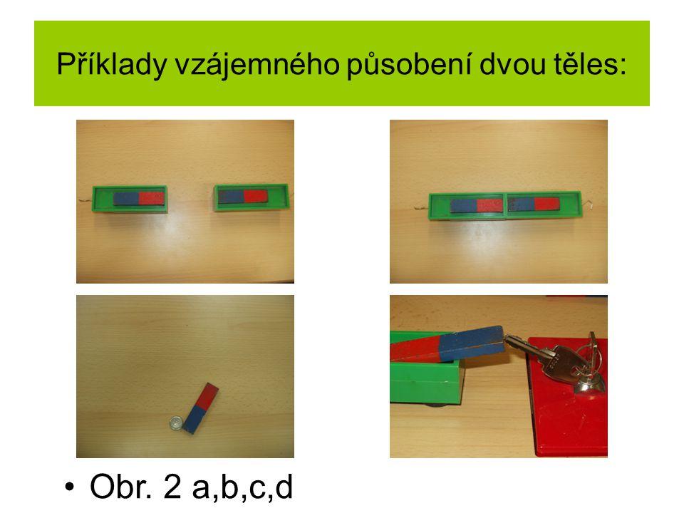 Příklady vzájemného působení dvou těles: Obr. 2 a,b,c,d