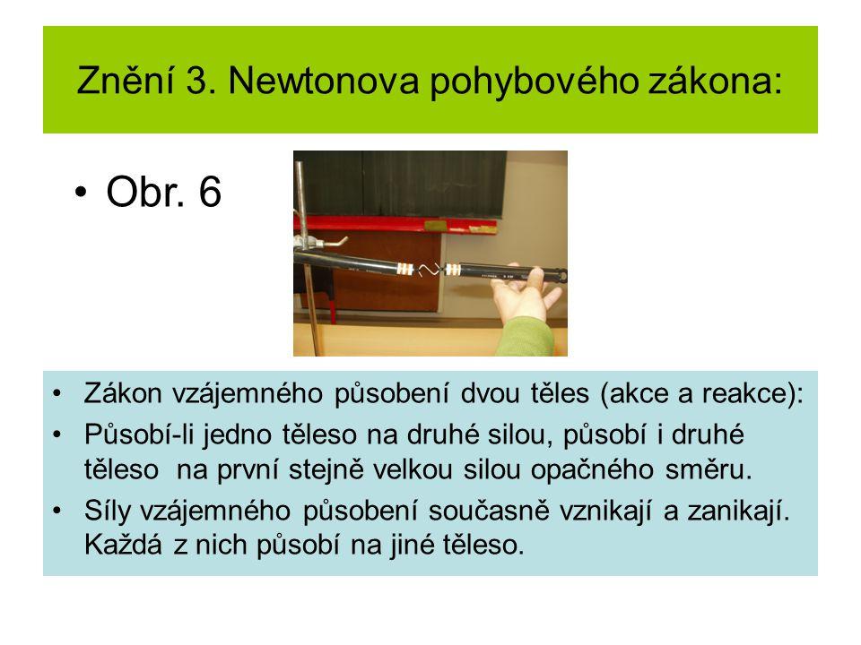 Znění 3. Newtonova pohybového zákona: Zákon vzájemného působení dvou těles (akce a reakce): Působí-li jedno těleso na druhé silou, působí i druhé těle