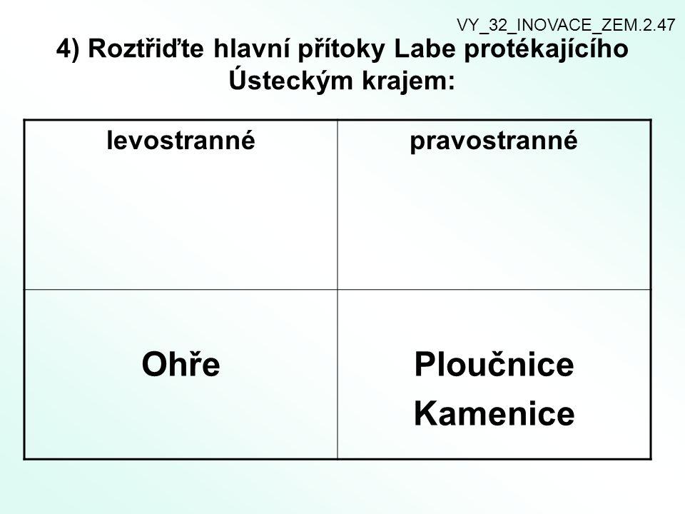 4) Roztřiďte hlavní přítoky Labe protékajícího Ústeckým krajem: levostrannépravostranné OhřePloučnice Kamenice VY_32_INOVACE_ZEM.2.47