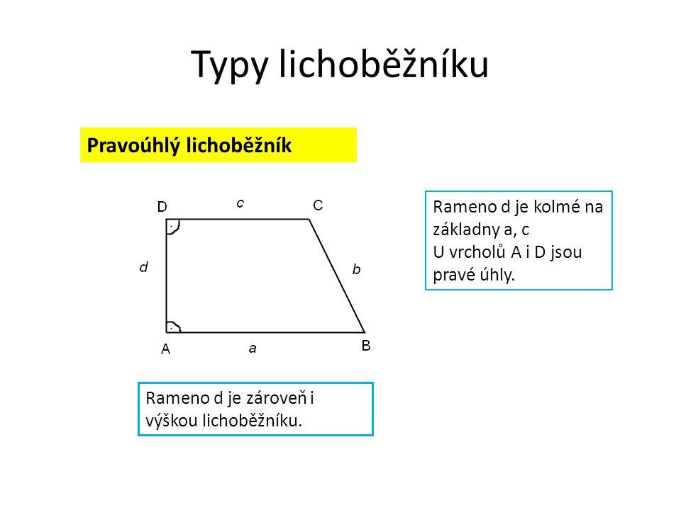 Typy lichoběžníku Pravoúhlý lichoběžník Rameno d je kolmé na základny a, c U vrcholů A i D jsou pravé úhly.