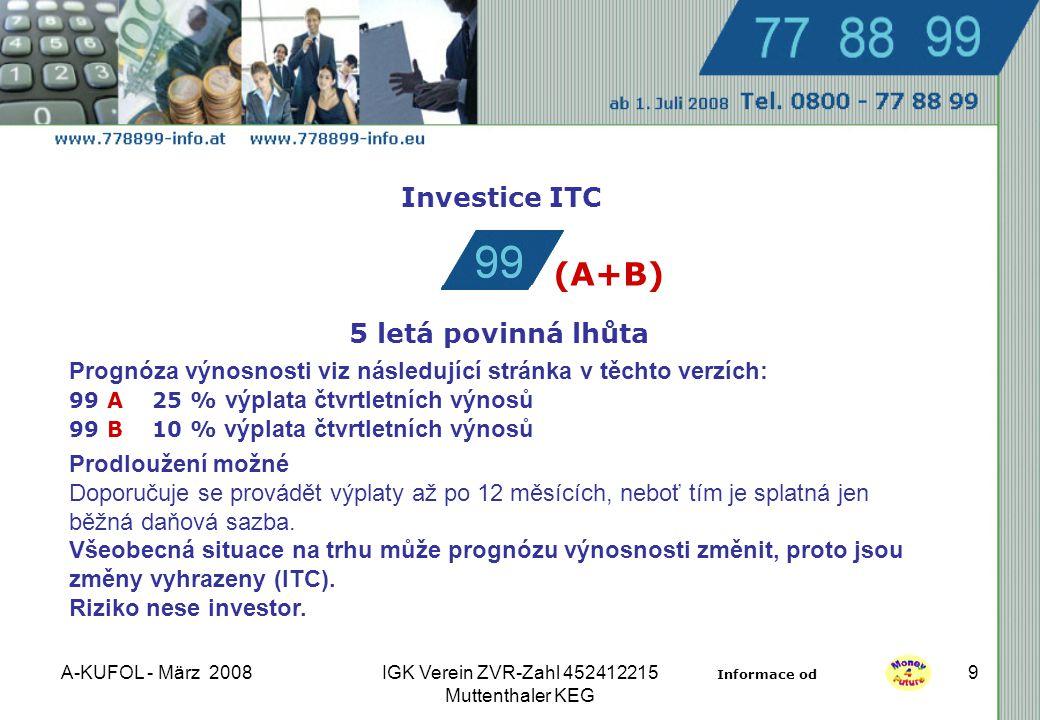A-KUFOL - März 2008IGK Verein ZVR-Zahl 452412215 Muttenthaler KEG 9 Investice ITC 5 letá povinná lhůta Prognóza výnosnosti viz následující stránka v těchto verzích: 99 A 25 % výplata čtvrtletních výnosů 99 B 10 % výplata čtvrtletních výnosů Prodloužení možné Doporučuje se provádět výplaty až po 12 měsících, neboť tím je splatná jen běžná daňová sazba.