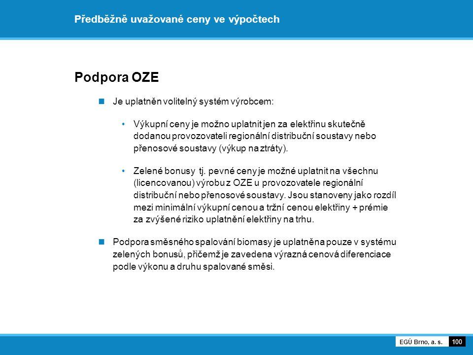 Předběžně uvažované ceny ve výpočtech Podpora OZE Je uplatněn volitelný systém výrobcem: Výkupní ceny je možno uplatnit jen za elektřinu skutečně doda