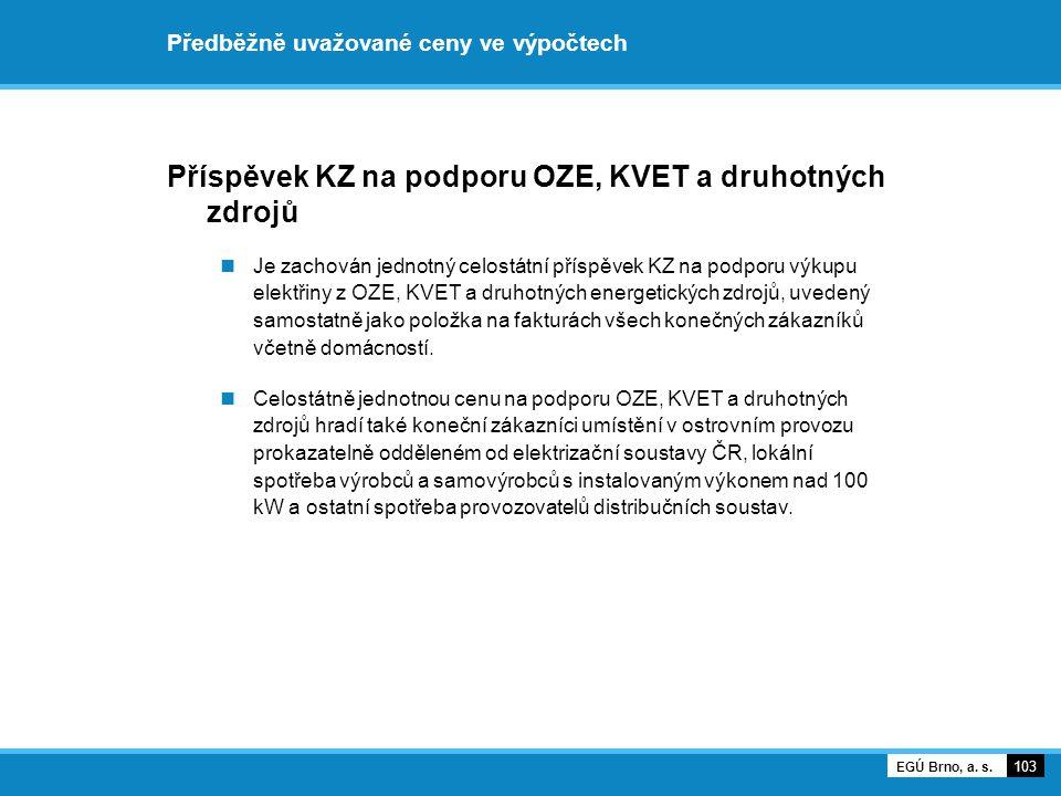 Předběžně uvažované ceny ve výpočtech Příspěvek KZ na podporu OZE, KVET a druhotných zdrojů Je zachován jednotný celostátní příspěvek KZ na podporu vý