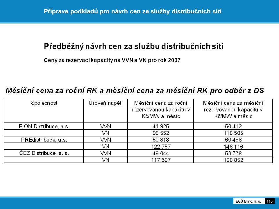 Příprava podkladů pro návrh cen za služby distribučních sítí Předběžný návrh cen za službu distribučních sítí Ceny za rezervaci kapacity na VVN a VN p