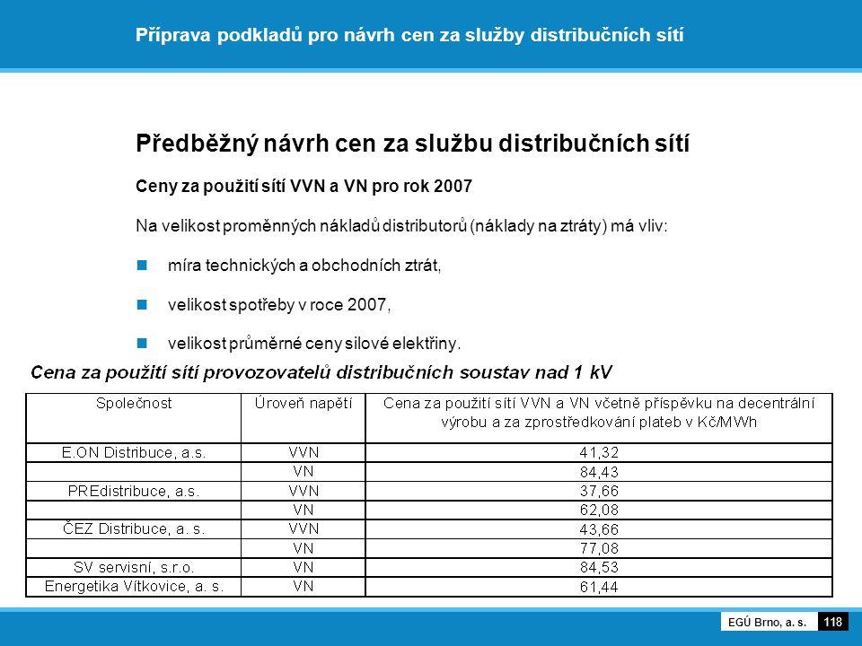 Příprava podkladů pro návrh cen za služby distribučních sítí Předběžný návrh cen za službu distribučních sítí Ceny za použití sítí VVN a VN pro rok 20