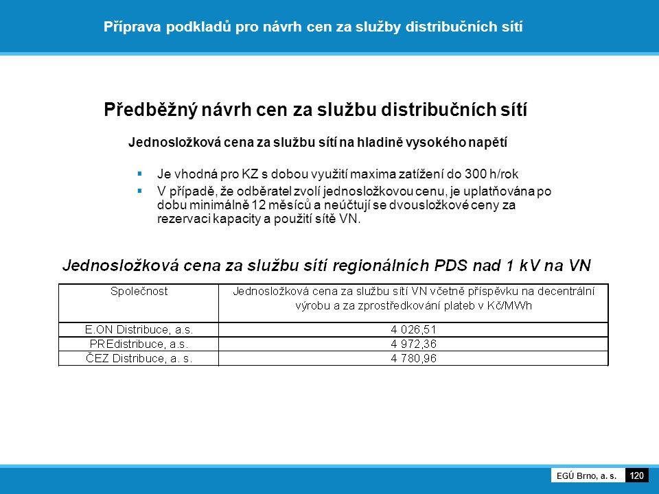 Příprava podkladů pro návrh cen za služby distribučních sítí Předběžný návrh cen za službu distribučních sítí Jednosložková cena za službu sítí na hla