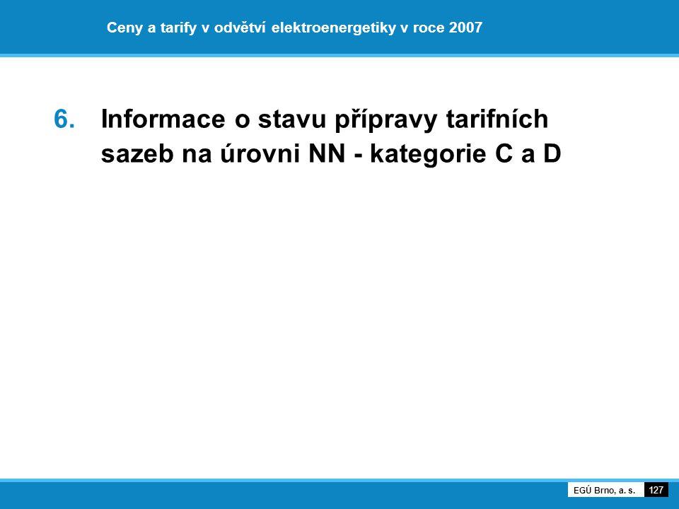 Ceny a tarify v odvětví elektroenergetiky v roce 2007 6. Informace o stavu přípravy tarifních sazeb na úrovni NN - kategorie C a D 127 EGÚ Brno, a. s.