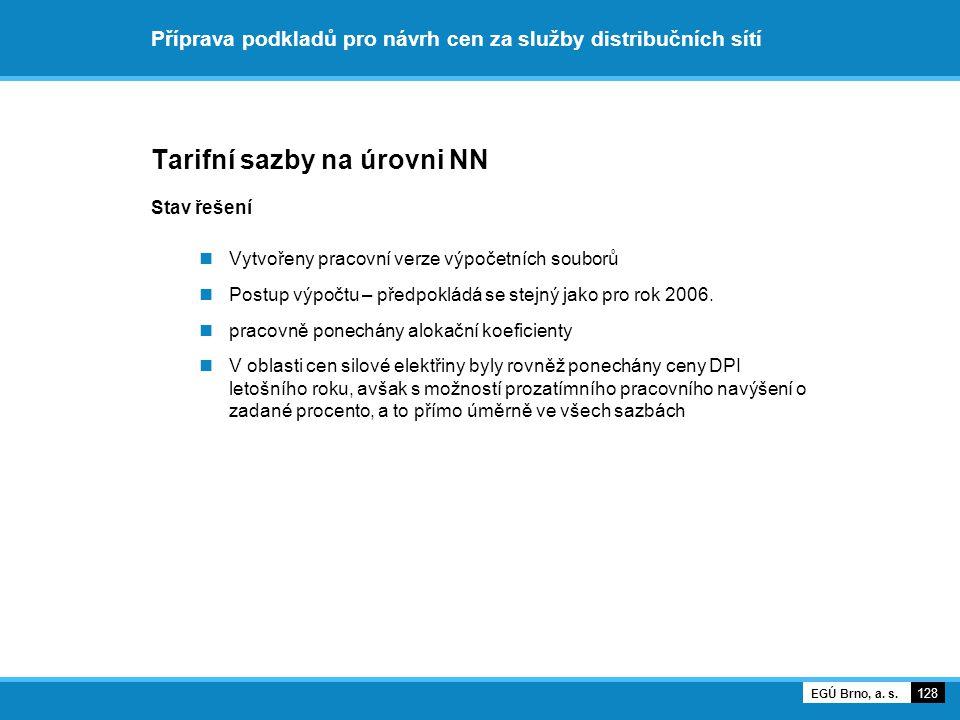 Příprava podkladů pro návrh cen za služby distribučních sítí Tarifní sazby na úrovni NN Stav řešení Vytvořeny pracovní verze výpočetních souborů Postu