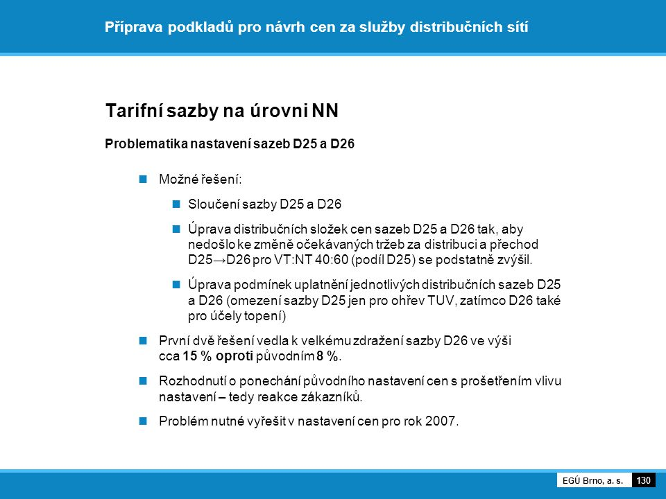 Příprava podkladů pro návrh cen za služby distribučních sítí Tarifní sazby na úrovni NN Problematika nastavení sazeb D25 a D26 Možné řešení: Sloučení