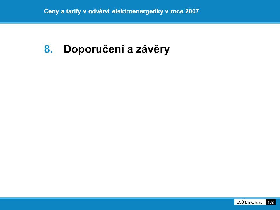 Ceny a tarify v odvětví elektroenergetiky v roce 2007 8. Doporučení a závěry 132 EGÚ Brno, a. s.