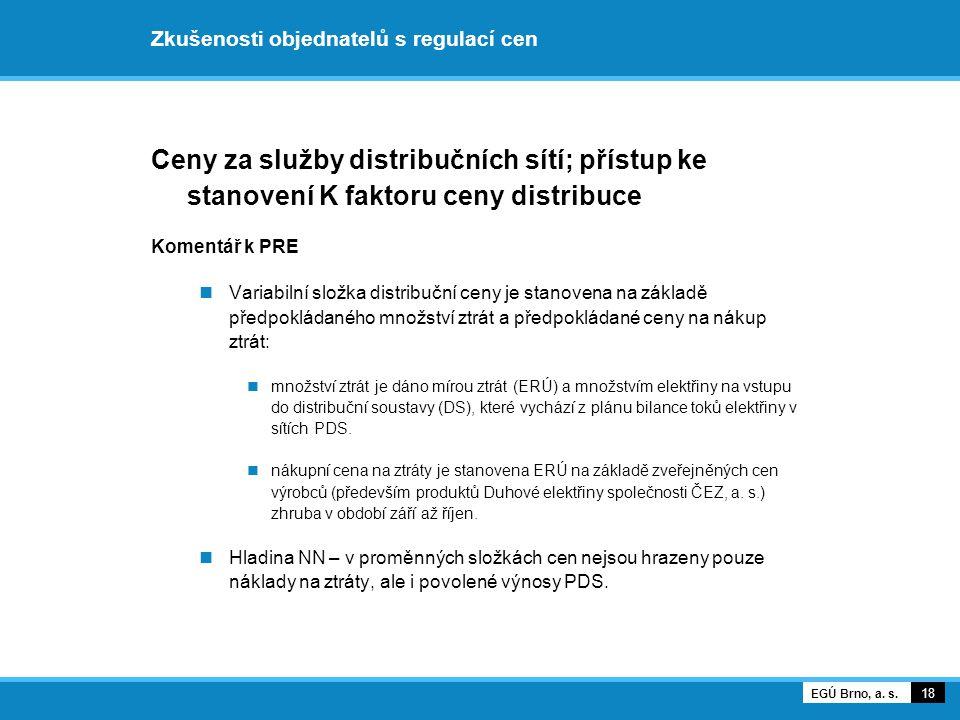 Zkušenosti objednatelů s regulací cen Ceny za služby distribučních sítí; přístup ke stanovení K faktoru ceny distribuce Komentář k PRE Variabilní slož