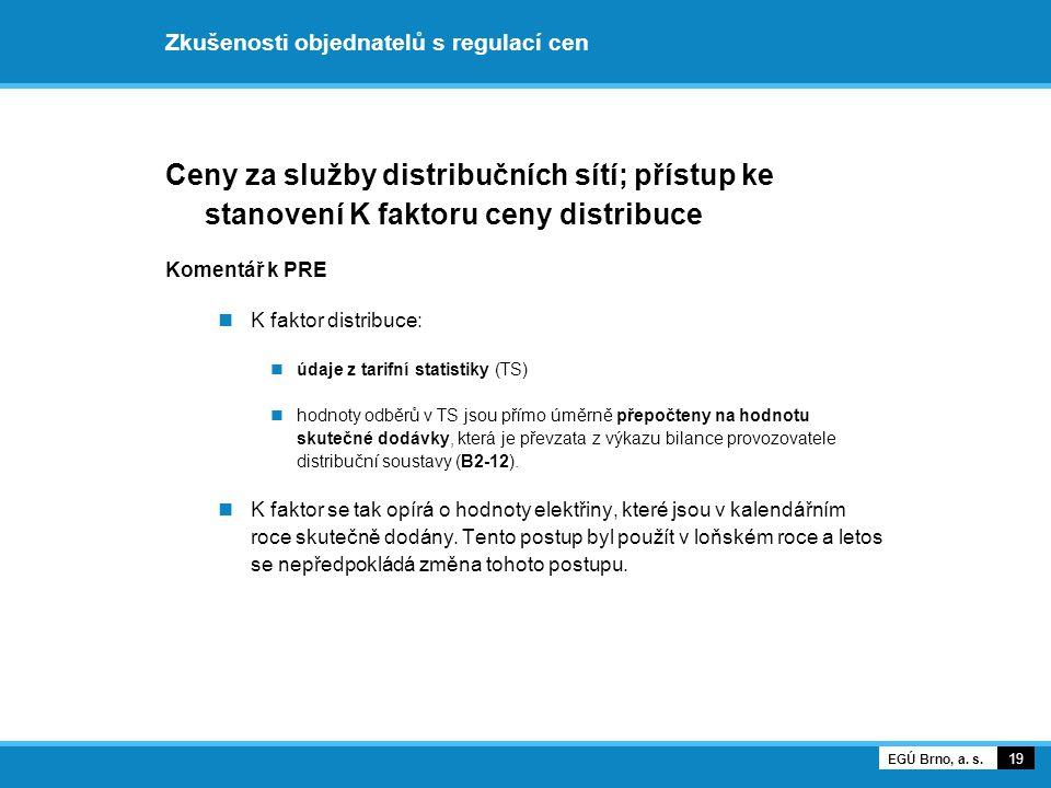 Zkušenosti objednatelů s regulací cen Ceny za služby distribučních sítí; přístup ke stanovení K faktoru ceny distribuce Komentář k PRE K faktor distri
