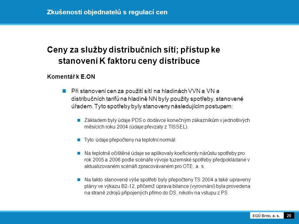 Zkušenosti objednatelů s regulací cen Ceny za služby distribučních sítí; přístup ke stanovení K faktoru ceny distribuce Komentář k E.ON Při stanovení