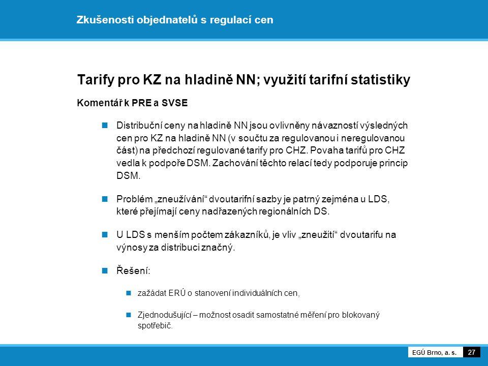 Zkušenosti objednatelů s regulací cen Tarify pro KZ na hladině NN; využití tarifní statistiky Komentář k PRE a SVSE Distribuční ceny na hladině NN jso