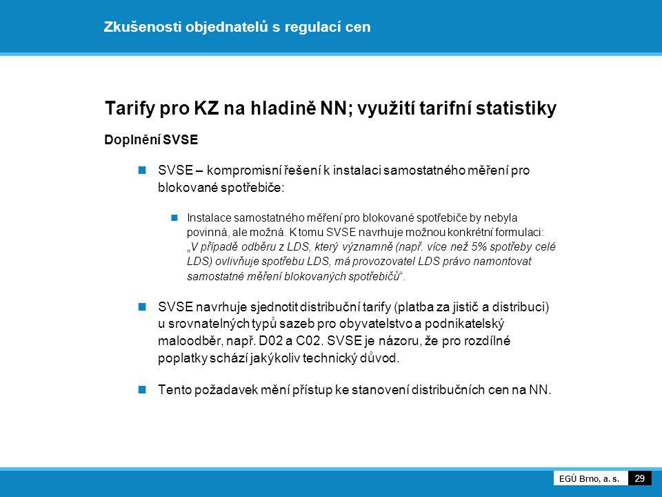 Zkušenosti objednatelů s regulací cen Tarify pro KZ na hladině NN; využití tarifní statistiky Doplnění SVSE SVSE – kompromisní řešení k instalaci samo