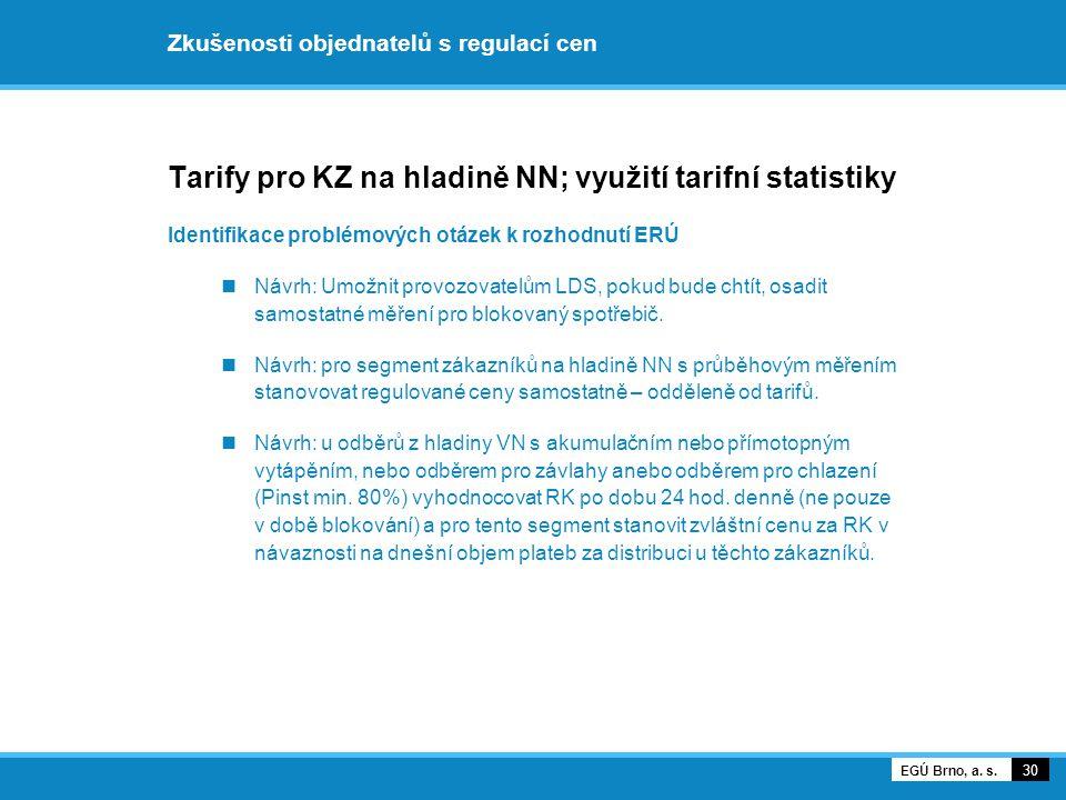 Zkušenosti objednatelů s regulací cen Tarify pro KZ na hladině NN; využití tarifní statistiky Identifikace problémových otázek k rozhodnutí ERÚ Návrh:
