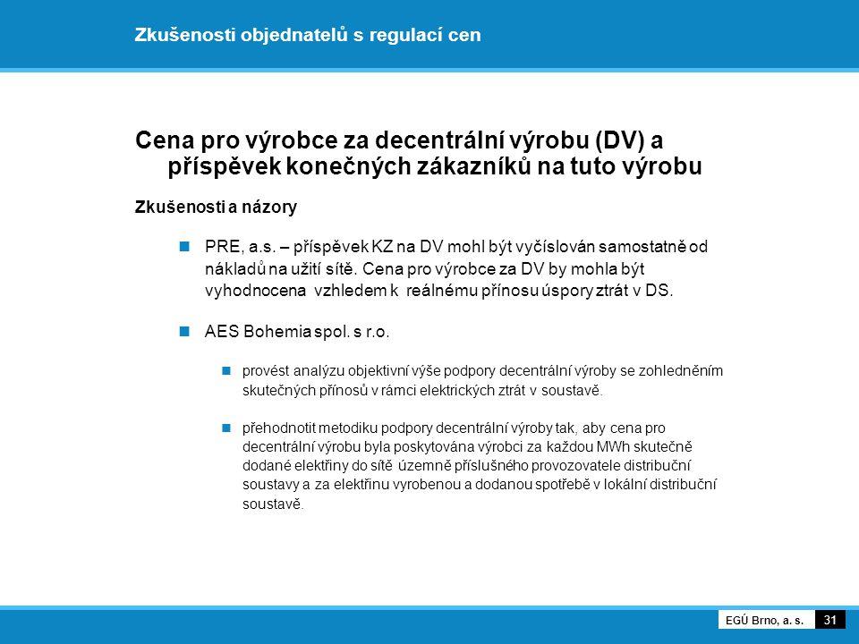Zkušenosti objednatelů s regulací cen Cena pro výrobce za decentrální výrobu (DV) a příspěvek konečných zákazníků na tuto výrobu Zkušenosti a názory P