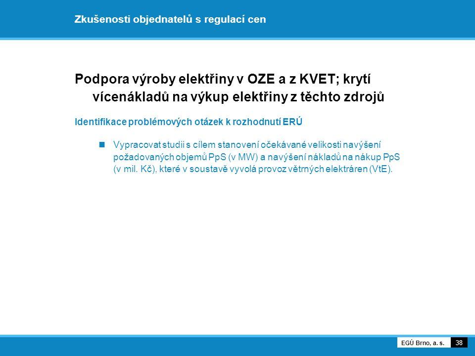 Zkušenosti objednatelů s regulací cen Podpora výroby elektřiny v OZE a z KVET; krytí vícenákladů na výkup elektřiny z těchto zdrojů Identifikace probl