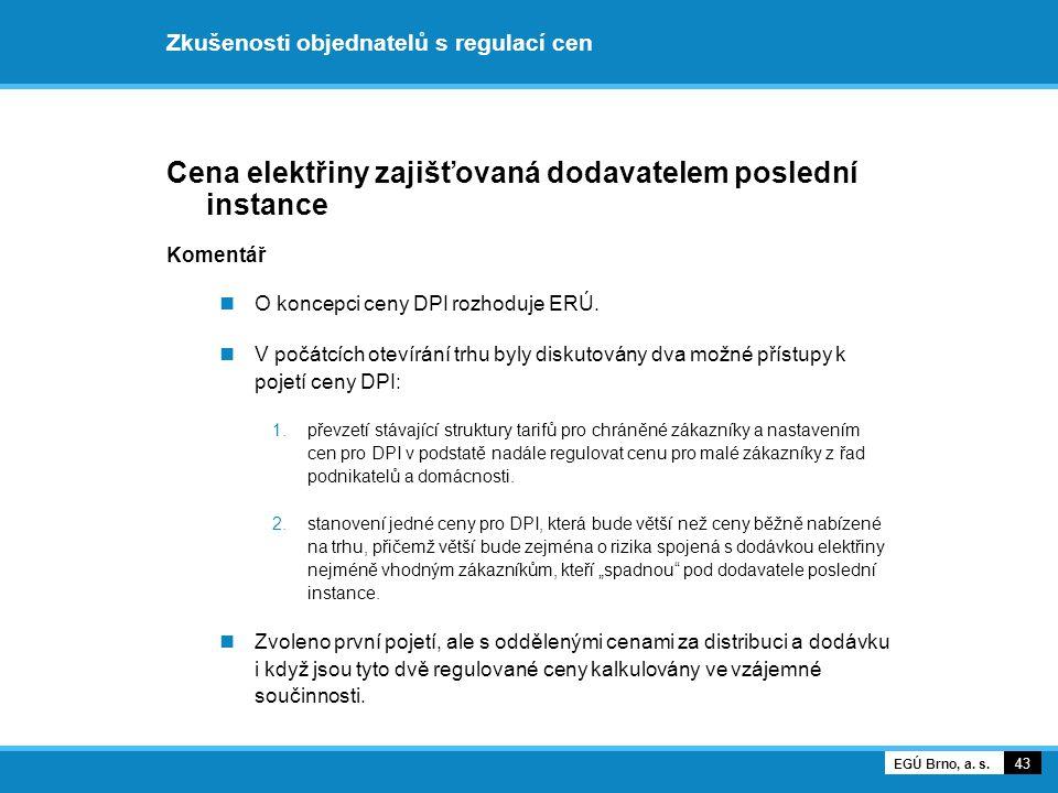Zkušenosti objednatelů s regulací cen Cena elektřiny zajišťovaná dodavatelem poslední instance Komentář O koncepci ceny DPI rozhoduje ERÚ. V počátcích