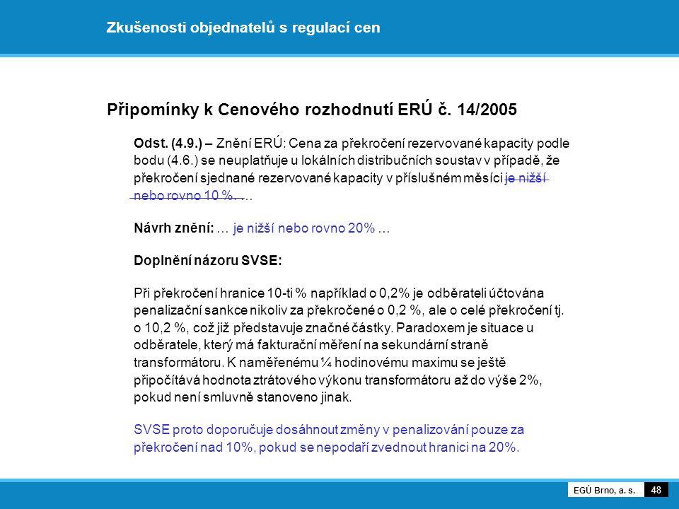 Připomínky k Cenového rozhodnutí ERÚ č. 14/2005 Odst. (4.9.) – Znění ERÚ: Cena za překročení rezervované kapacity podle bodu (4.6.) se neuplatňuje u l
