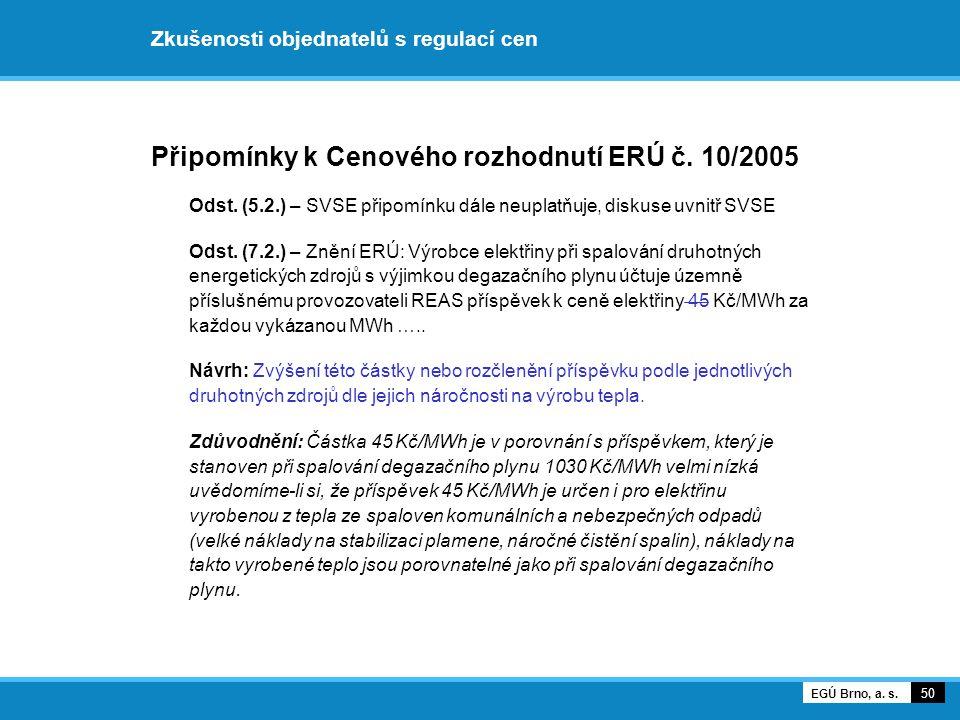 Připomínky k Cenového rozhodnutí ERÚ č. 10/2005 Odst. (5.2.) – SVSE připomínku dále neuplatňuje, diskuse uvnitř SVSE Odst. (7.2.) – Znění ERÚ: Výrobce
