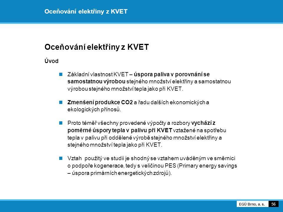 Oceňování elektřiny z KVET Úvod Základní vlastnost KVET – úspora paliva v porovnání se samostatnou výrobou stejného množství elektřiny a samostatnou v