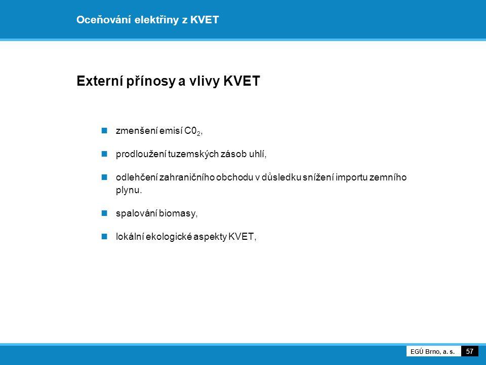 Oceňování elektřiny z KVET Externí přínosy a vlivy KVET zmenšení emisí C0 2, prodloužení tuzemských zásob uhlí, odlehčení zahraničního obchodu v důsle