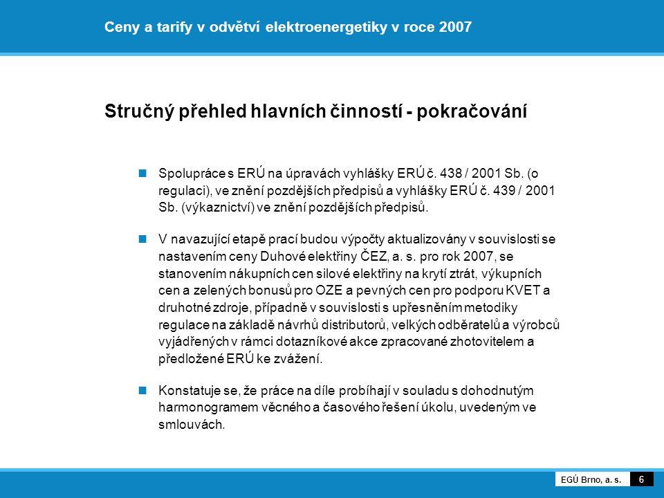 Ceny a tarify v odvětví elektroenergetiky v roce 2007 Stručný přehled hlavních činností - pokračování Spolupráce s ERÚ na úpravách vyhlášky ERÚ č. 438