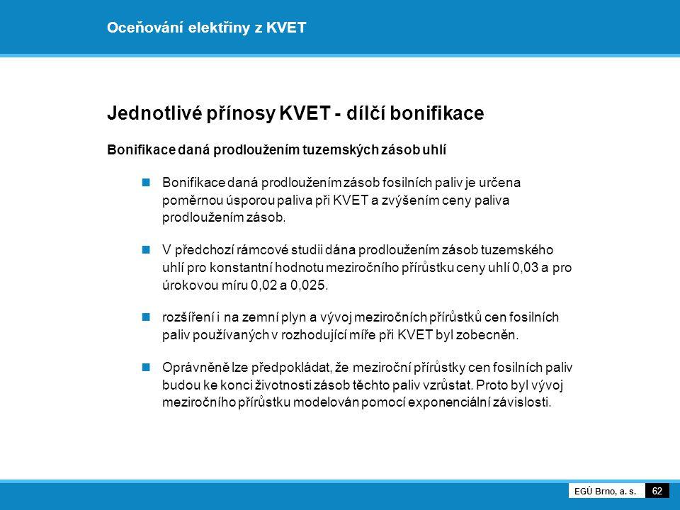 Oceňování elektřiny z KVET Jednotlivé přínosy KVET - dílčí bonifikace Bonifikace daná prodloužením tuzemských zásob uhlí Bonifikace daná prodloužením