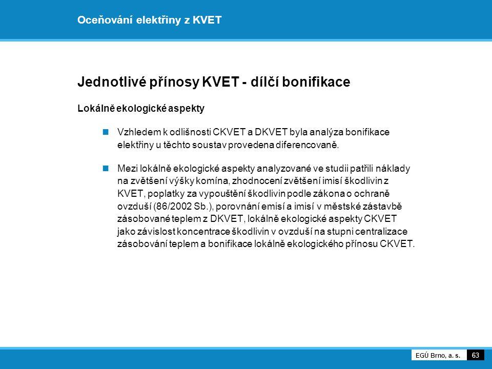 Oceňování elektřiny z KVET Jednotlivé přínosy KVET - dílčí bonifikace Lokálně ekologické aspekty Vzhledem k odlišnosti CKVET a DKVET byla analýza boni