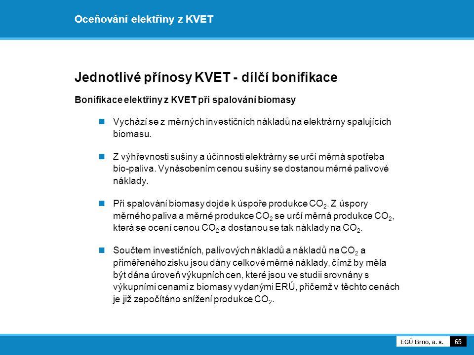 Oceňování elektřiny z KVET Jednotlivé přínosy KVET - dílčí bonifikace Bonifikace elektřiny z KVET při spalování biomasy Vychází se z měrných investičn