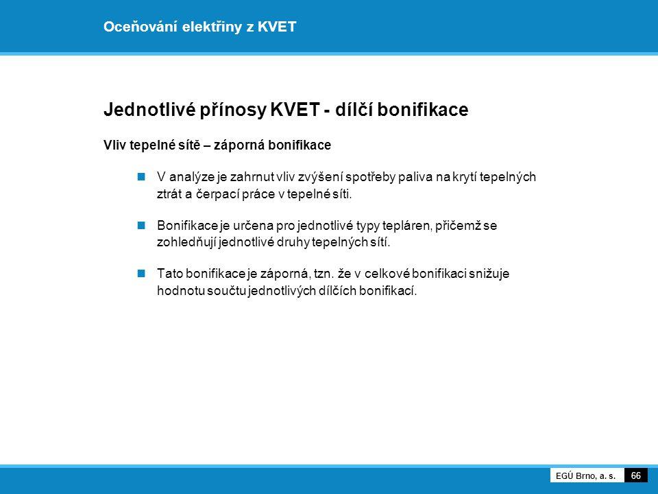 Oceňování elektřiny z KVET Jednotlivé přínosy KVET - dílčí bonifikace Vliv tepelné sítě – záporná bonifikace V analýze je zahrnut vliv zvýšení spotřeb