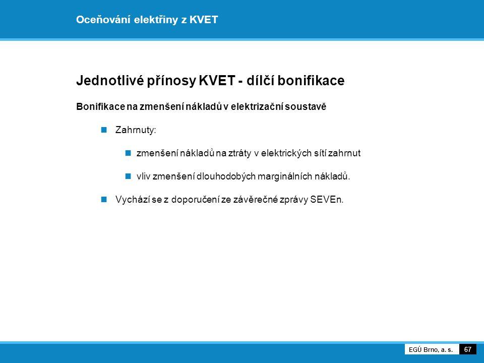 Oceňování elektřiny z KVET Jednotlivé přínosy KVET - dílčí bonifikace Bonifikace na zmenšení nákladů v elektrizační soustavě Zahrnuty: zmenšení náklad
